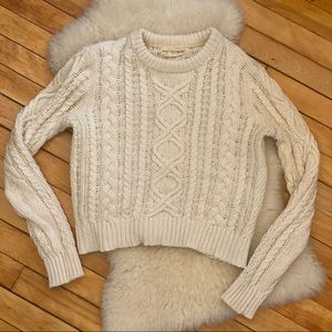 Denim & Supply Cream Cable Knit Cropped Sweater